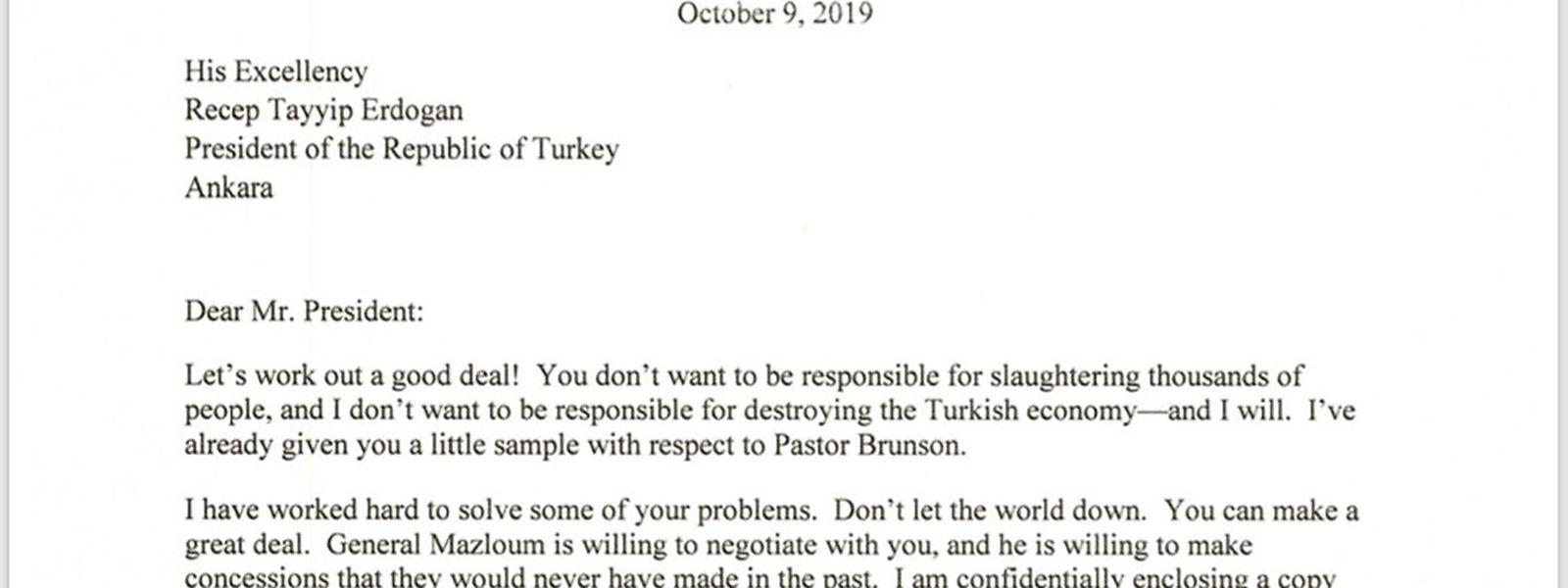 US-Präsident Trumps Brief an Präsident Erdogan.