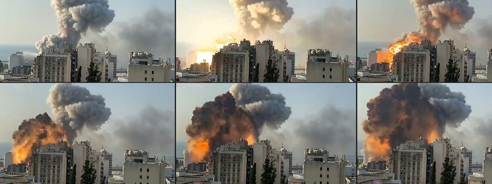 Eine riesige Rauchwolke steht am Dienstag über Beirut. Im Hafen war es zu einer gewaltigen Explosion gekommen.