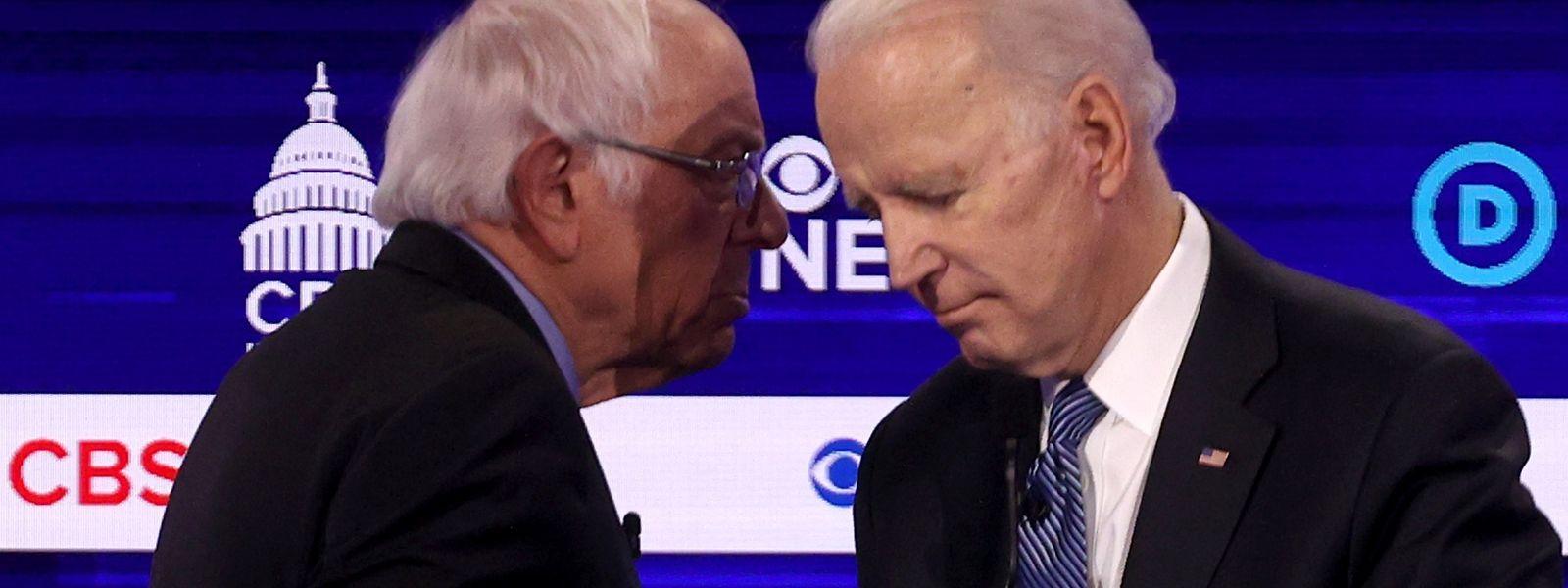 Bernie Sanders (à g.) et Joe Biden (à dr.), adversaires dans la primaire démocrate
