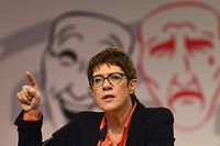 Annegret Kramp-Karrenbauer, leader of the Christian Democratic Union (CDU) addresses the traditional Ash Wednesday event in Demmin, northern Germany on March 6, 2019. (Photo by Danny Gohlke / dpa / AFP) / Germany OUT