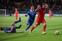 Armenia's forward Aleksandr Karapetyan in action during the Euro 2020 football qualification match between Armenia and Liechtenstein in Yerevan on June 8, 2019. (Photo by KAREN MINASYAN / AFP)