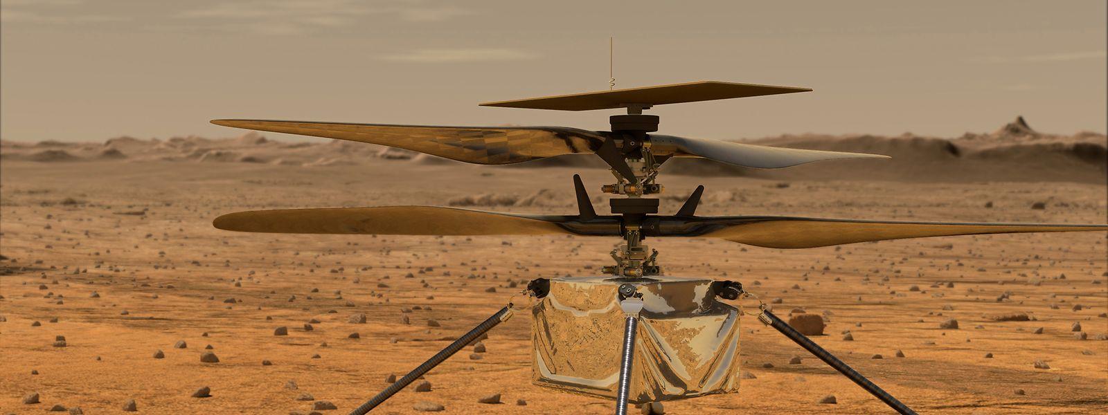 """Eine Illustration zeigt den Mini-Hubschrauber """"Ingenuity"""" auf der Marsoberfläche."""