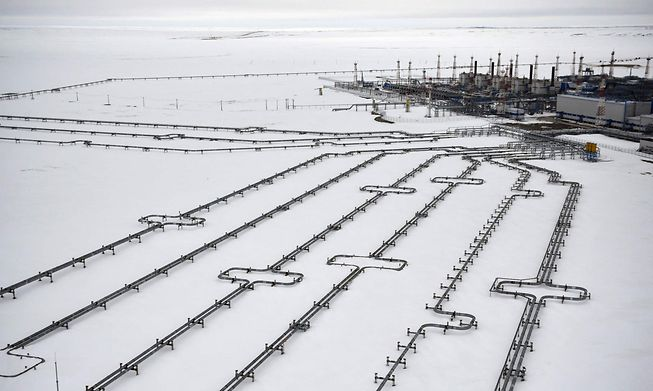 Incoming pipelines leading to a Russian gas field in the Arctic Circle shown on 21 May 2019