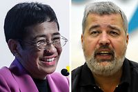 (FILES) This file combination of pictures created on October 08, 2021, shows Maria Ressa (L), co-founder and CEO of the Philippines-based news website Rappler, speaking at the Human Rights Press Awards at the Foreign Correspondents Club of Hong Kong on on May 16, 2019 and Dmitry Muratov, editor-in-Chief of Russia's main opposition newspaper Novaya Gazeta gestures as he speaks during a news conference in Moscow, on December 11, 2012. - The 2021 Nobel Peace Prize was awarded on October 8, 2021 to journalists Maria Ressa (Philippines) and Dmitry Muratov (Russia). (Photo by Isaac LAWRENCE / AFP)