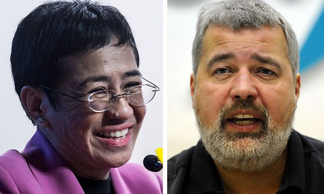Maria Ressa from the Philippines and Dmitry Muratov of Russia
