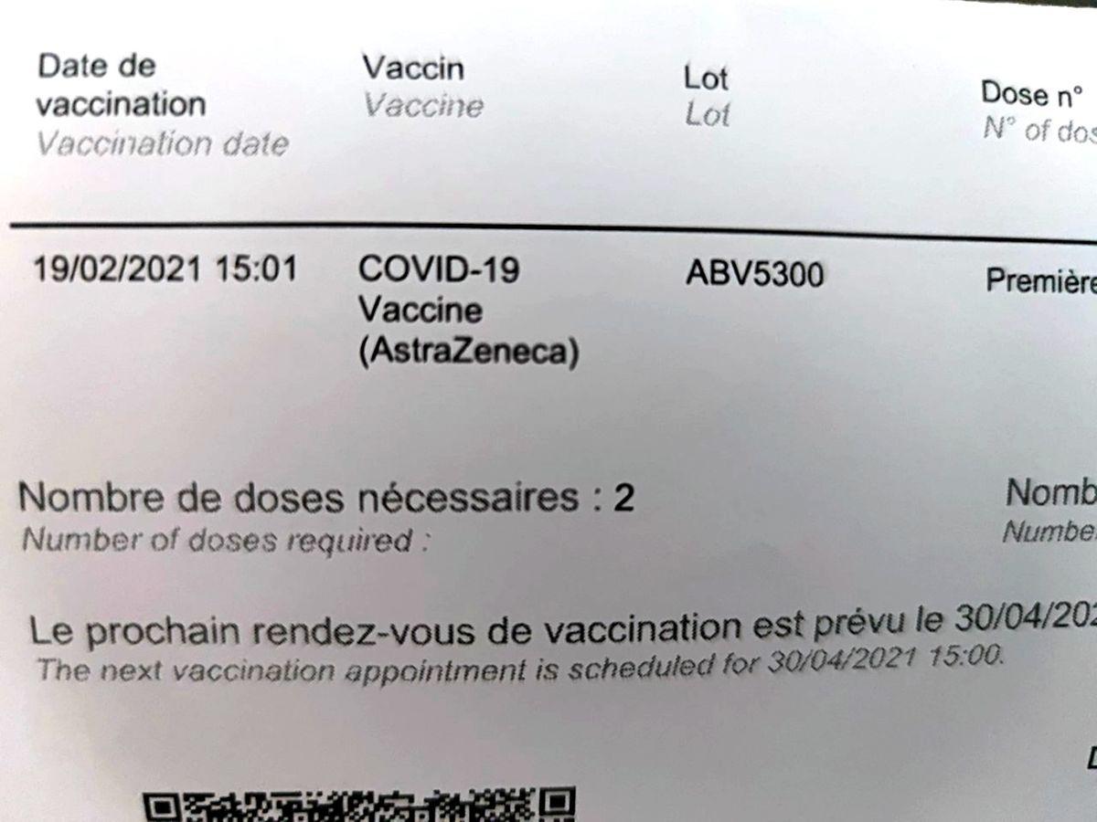 Chaque personne vaccinée peut lire sur le certificat remis le lot provenance de son injection anticovid.