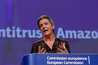 European Executive Vice-President Margrethe Vestager gives a press conference on an anti-trust case with the multinational technology company, Amazon website at European Commission in Brussels on November 10, 2020. - The European Union formally accused US giant Amazon on November 10, 2020, of abusing its control over an online marketplace to distort competition, a breach of anti-trust rules. Competition commissioner Margrethe Vestager said Brussels had informed the company of its view and would push on with an investigation, while opening a second formal probe. (Photo by Olivier HOSLET / POOL / AFP)