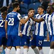 FC Porto's Moussa Marega (R) celebrates with his team mates after scoring a goal against Vitoria de Setubal during their Portuguese First League soccer match, held at Dragao stadium, Porto, Portugal, 23 April 2018. JOSE COELHO/LUSA