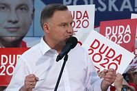 Polish president and candidate to his succession for the Law and Justice (PiS) party  Andrzej Duda addresses supporters during a campaign meeting ahead of the presidential election in Lomza, central Poland on July 7, 2020. (Photo by JANEK SKARZYNSKI / AFP)