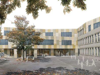 Ein neuer Flügel wird an das bestehende Gebäude angebaut.