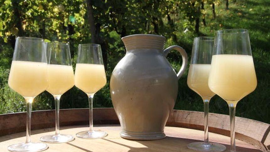 """Fiederwäissen"",  a young sparkling, sweet wine."