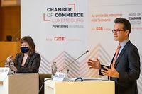 Wirtschaft, Chambre de Commerce, Conférence annuelle de conjoncture, Christel Chatelain, Carlo Thelen, Foto: Chris Karaba/Luxemburger Wort