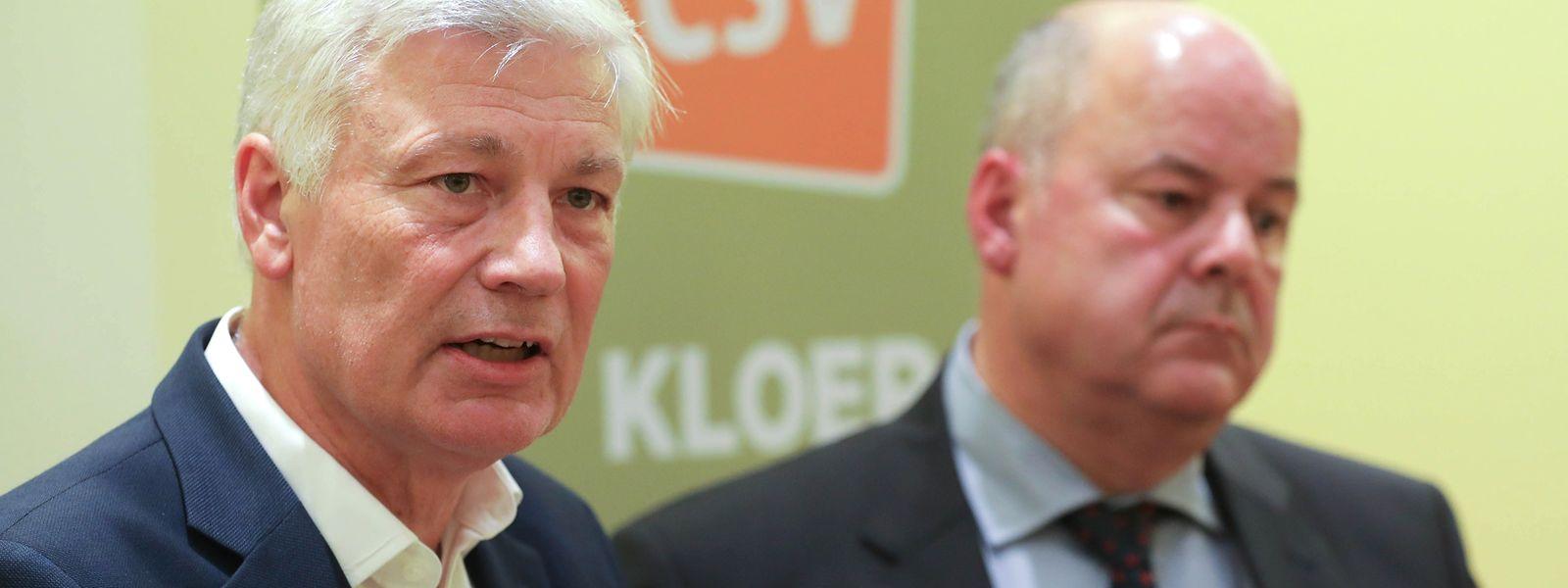 Späte Entschlossenheit: Claude Wiseler und Marc Spautz (r.) nach der Sitzung des CSV-Nationalrates.