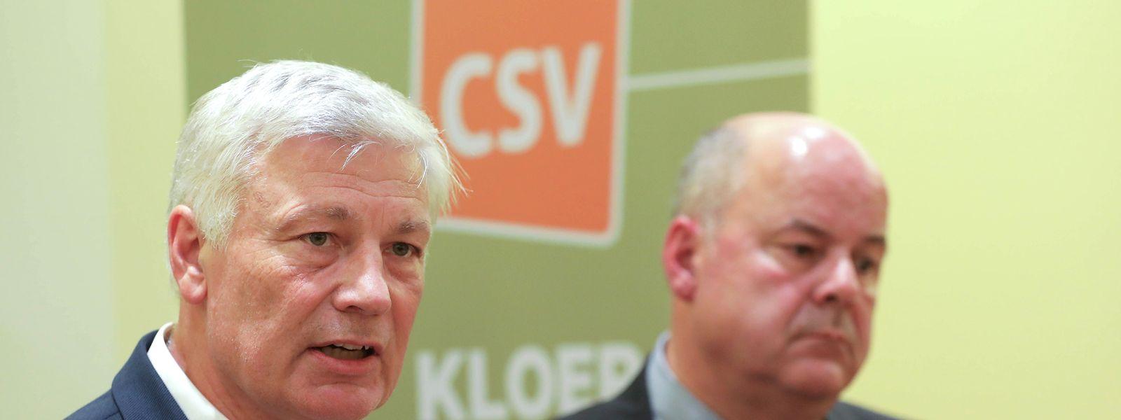 Der frühere CSV-Fraktionschef Claude Wiseler (links) zusammen mit dem ehemaligen Parteipräsidenten Marc Spautz. Beide gaben ihre Ämter als Folge des Resultats bei den Parlamentswahlen ab. Ihnen folgten Martine Hansen und Frank Engel nach.