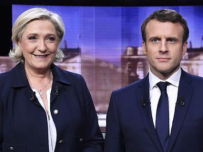 Un débat houleux et tendu a eu lieu mercredi soir entre les deux candidats à la présidence française, Marine Le Pen (à g.) et Emmanuel Macron.
