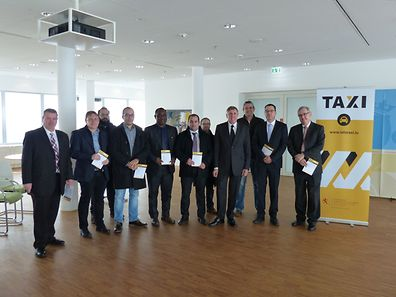 From left to right: Charles Geniets, Émile Weber, Vasco David, Joao Fernandes, Babtunde Otukoya, Michel Pereira, François Bausch, Jean-Paul Maas, Olivier Gallé, Jean-Paul Gallé