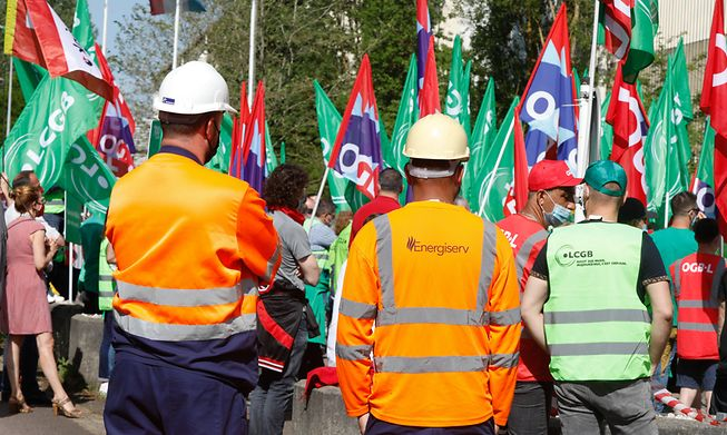 Several dozen people protested Friday outside the Liberty Steel plant in Dudelange