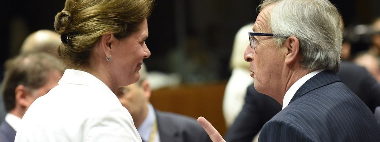 Jean-Claude Juncker en compagnie du Premier ministre slovène, Alenka Bratusek, à Bruxelles le 30 août 2014