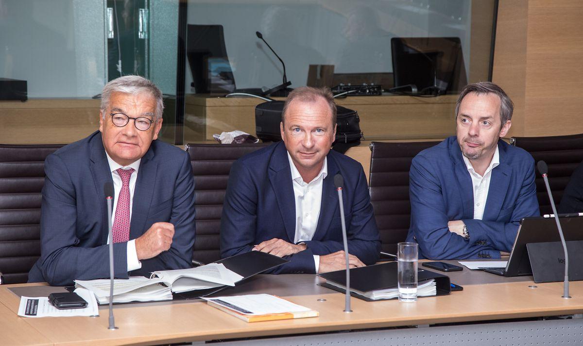 Die CSV-Abgeordneten  Laurent Mosar, Gilles Roth und Georges Mischo (v.l.n.r.) forern eine restlose Aufklärung in Bezug auf das Zentralregister der Polizei.