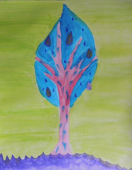 Heimarbeit für Kinder: Künstler Jean-Marie Biwer und das Mudam wünschen sich Bilder von Kindern, bunte und fantasievolle Bäume. Hier ein Bild gemalt von der zehnjährigen Yaël Thill.