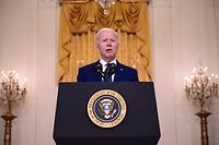 US President Joe Biden delivers remarks on Russia at the White House in Washington, DC on April 15, 2021. (Photo by JIM WATSON / AFP)