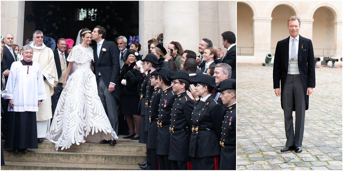 Os noivos e o Grão-Duque Henri. A Grã-Duquesa não pôde estar presente devido a estar em convalescença da cirurgia ao joelho.