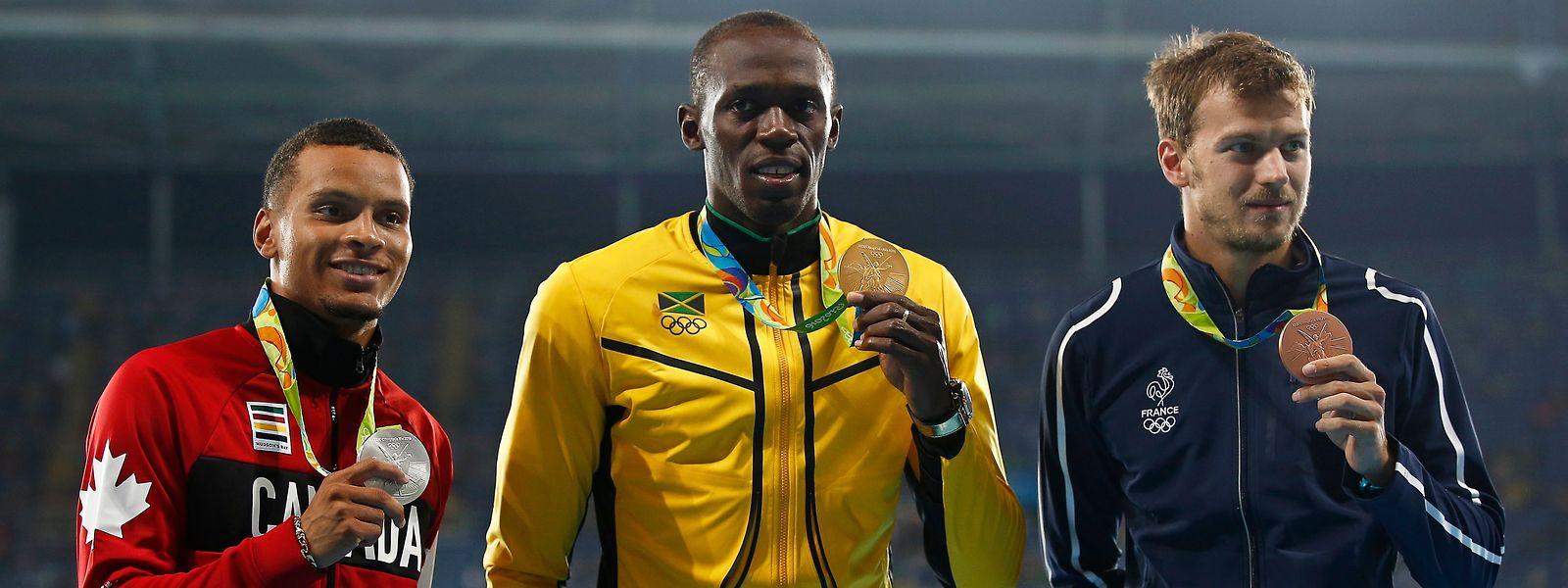 Bei den Olympischen Spielen 2016 steht Christophe Lemaitre (r.) auf dem Podium – neben Usain Bolt und Andre de Grasse (l.).