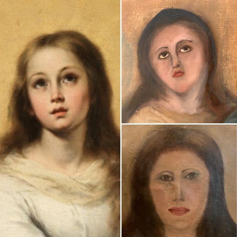 Die vom Sammler zur Verfügung gestellte Kombo zeigt die Kopie eines der Marienbildnisse von Bartolome Esteban Murillo (l), den ersten Restaurierungsversuch (oben) und den zweiten.