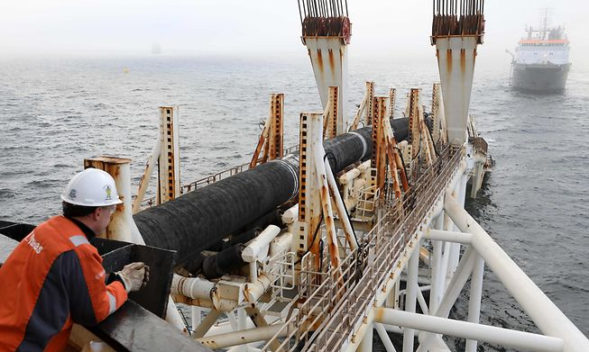 Parts of the Nord Stream 2 pipeline are laid in the Baltic Sea off the coast of northeastern Germany on 15 November, 2018