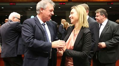 Minister Jean Asselborn with the union's High Representative for Foreign Affairs and Security Policy, Federica Mogherini.