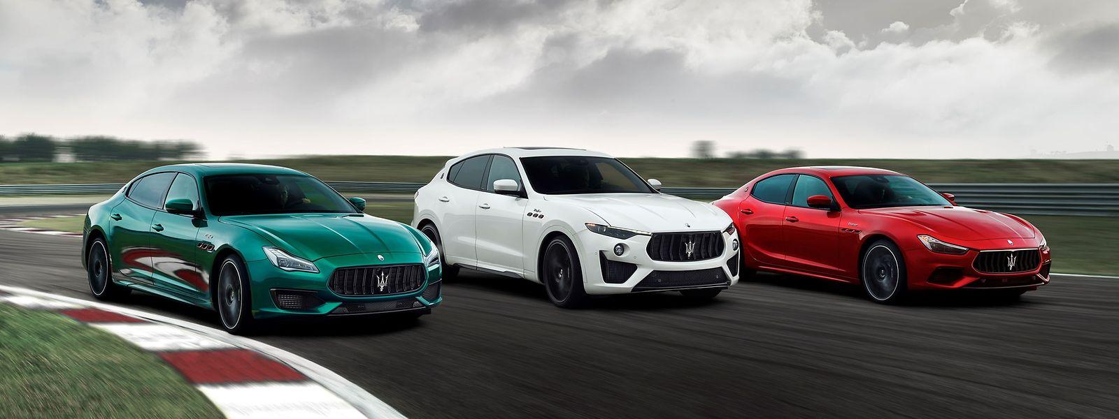 Die Trofeo-Topmodelle (von links: Quattroporte, Levante, Ghibli) von Maserati versprechen Luxus gepaart mit Sportlichkeit.