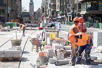 Wi , Bauferien , Bauconge Baustellen , Chantier Tram , Gare , Foto:Guy Jallay/Luxemburger Wort