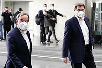 Bei der Klausurtagung der Unions-Bundestagsfraktion in Berlin signalisierten Armin Laschet (links) und Markus Söder beide Bereitschaft, für das höchste Regierungsamt zu kandidieren.