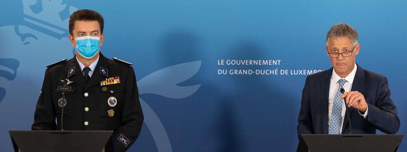 Laut Polizei-Generaldirektor Philippe Schrantz (l.) und Ressortminister Henri Kox falle es niemandem leicht, eine Ausgangssperre durchzusetzen.