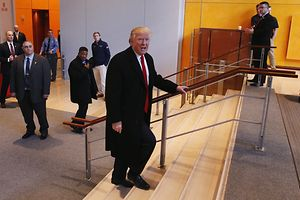 """Auf dem Weg in die """"New York Times""""-Redaktion: Donald Trump."""