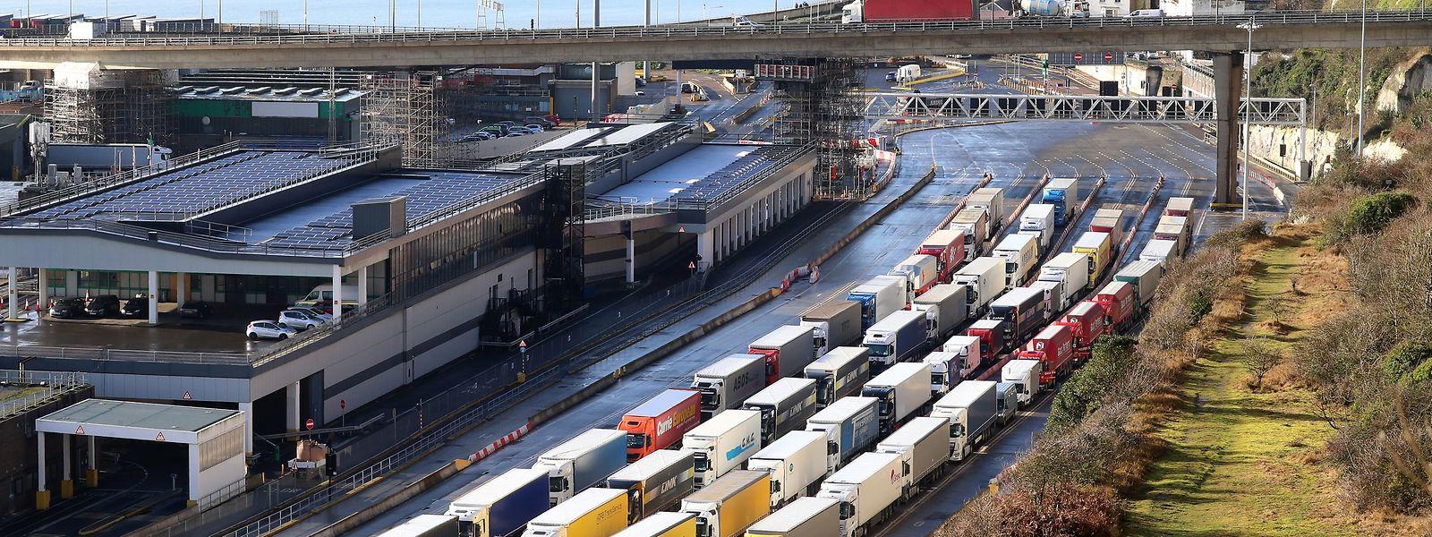 Lastwagen stehen im Grenzkontrollbereich des Hafens von Dover Schlange.