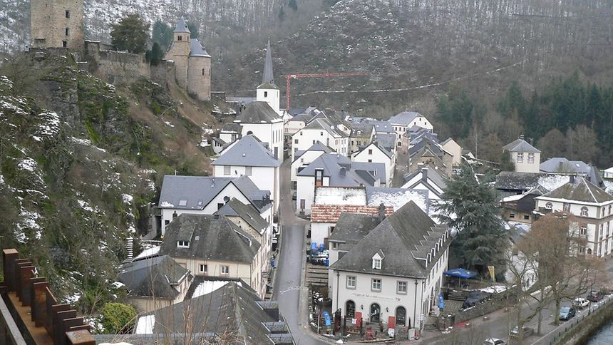 The picturesque village of Esch-sur-Sûre with its castle ruins and mysterious chapel
