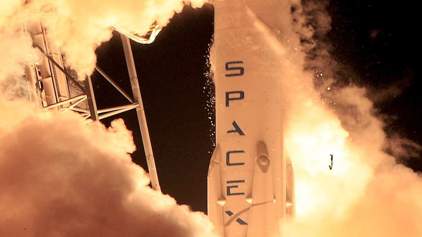 A SpaceX Falcon 9 rocket lifts off at the Cape Canaveral Air Force Station in Cape Canaveral, Florida