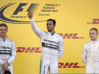 Winner Mercedes' British driver Lewis Hamilton