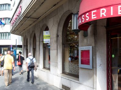 "A ""to rent"" sign is posted outside of the former Roder Brasserie in Luxembourg City"