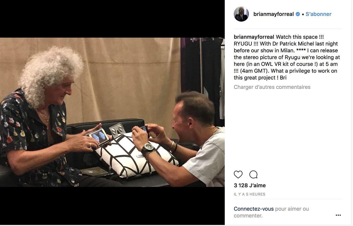 L'astrophysicien et guitariste Brian May est fier de sa photo stéréo de l'astéroïde Ryugu qui a fait un tabac sur Twitter.
