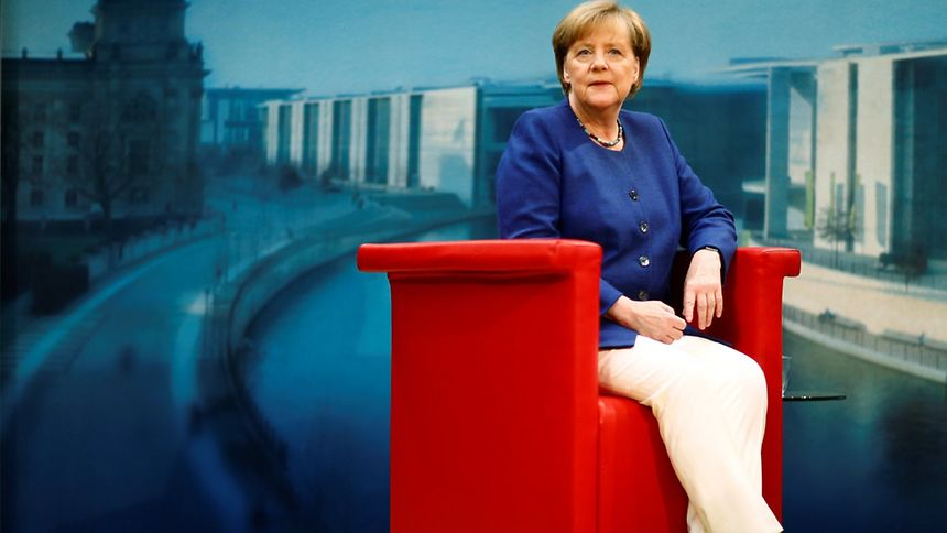 German Chancellor Angela Merkel arrives for a TV interview by ARD public broadcaster in Berlin Germany