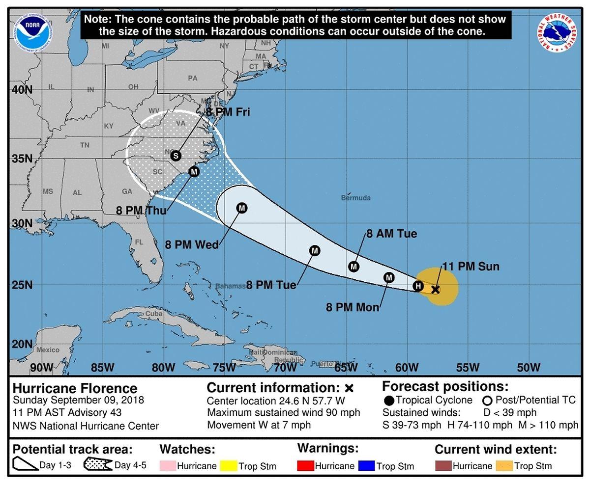 Die vorhergesagte Bahn des Hurrikans. Der Sturm soll am Donnerstag die Küste erreichen.