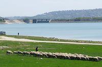Türkei, Istanbul: Blick über den Stausee auf den Sazlidere-Damm im Norden der türkischen Großstadt. Der durch Istanbul geplante Kanal vom Marmarameer zum Schwarzen Meer, der durch den Staudamm führen soll, ist ein Prestigeprojekt des türkischen Präsidenten Erdogan.