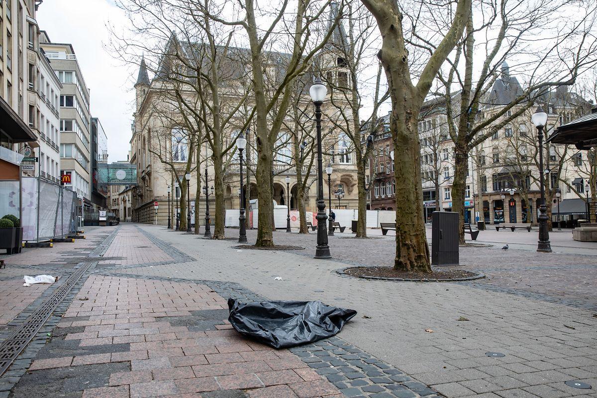 Bild vom 29. März: Auch die Place d'Armes gibt ein kümmerliches Bild ab.