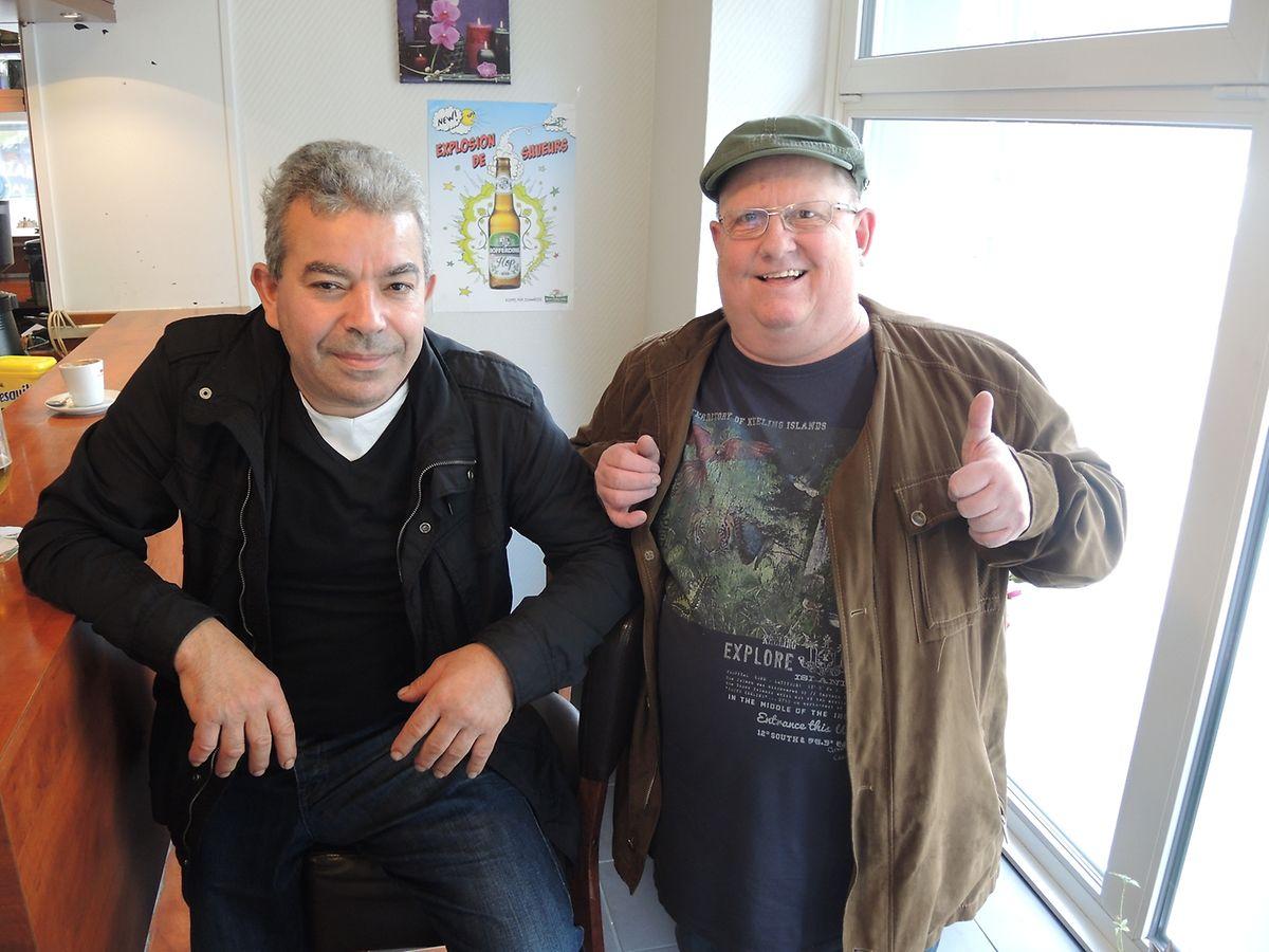 """Manuel Gomez und Robert """"Caci"""" ließen sich durch den Zwischenfall nicht aus der Fassung bringen."""