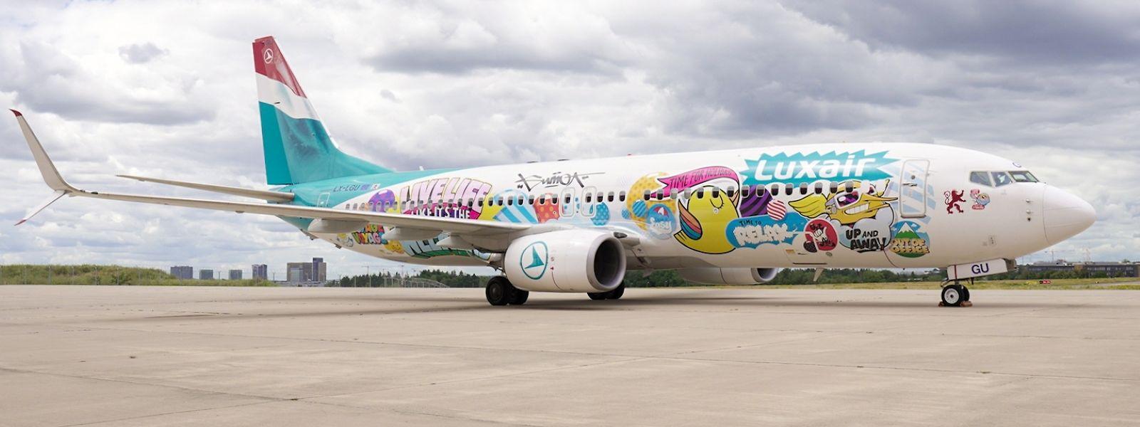 Einer der Luxair-Flieger im neuen Design.