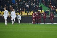 Metz' players celebrate after scoring a goal during the French L1 football match between Metz (FC Metz) and Reims (Stade de Reims) at Saint Symphorien stadium in Longville-l�s-Metz, eastern France, on November 23, 2019. (Photo by JEAN-CHRISTOPHE VERHAEGEN / AFP)