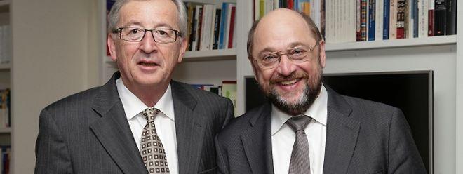 Juncker und Schulz machen derzeit eine Tour durch Europa. In Frankreich treten sie gemeinsam vor die Fernsehkameras.