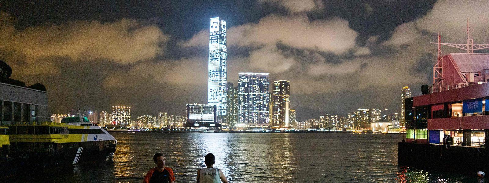 Die Skyline von Hong Kong.